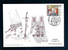 OBLITERATION VISITE PAPE JEAN PAUL II à REIMS 1996 - Gedenkstempel