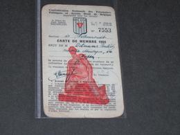 CONFEDERATION NATIONALE DES PRISONNIERS POLITIQUES DE BELGIQUE - CARTE DE MEMBRE- ORTMANS HUBERT EUPEN - 1955 - 1939-45