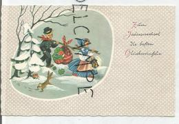 Mignonnette. Züm Jahreswechsel Die Besten Glückwunsche. Ramoneur Et Petite Fille, Baluchon, Lanterne, Lapin. - Nouvel An