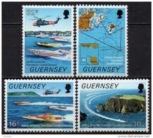 Guernesey - 1988 - Yvert N° 428 à 431 ** - Championnat Du Monde De Motonautisme - Guernesey