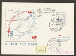 Portugal Premier Vol TAP Copenhagen Luxembourg 1979 First Flight - Poste Aérienne