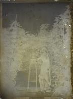 Plaque De Verre Négative - Probablement Herry Dans Le Cher - Un Femme Près D'un Guéridon - Glass Slides