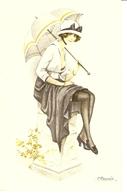 Jeune Femme Avec Parapluie - Illustrators & Photographers