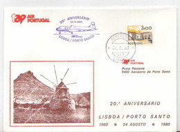 Portugal 20 Ans Premier Vol TAP Lisbonne Porto Santo Madeira 1980 Lisbon Porto Santo 20 Years First Flight - Poste Aérienne