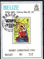 Belize 1981 WIPA $2 On $ 10 Christmas 1980 Block VF Used (5) - Belize (1973-...)