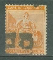 COGH: 1884/90   Hope    SG54   5/-  Orange   Used - Cape Of Good Hope (1853-1904)