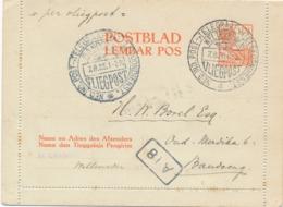 Nederlands Indië - 1923 - 12,5 Cent Wilhelmina, Postblad G1 Als Jaarbeurs Vliegpost Van Weltevreden Naar Bandoeng - Nederlands-Indië