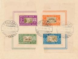 Nederlands Indië - 1933 - AMVJ-set Met Velhoeken Op Kaartje, Gestempeld Pelikaan Bandoeng - Nederlands-Indië