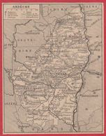 Carte Du Département De L'Ardèche (07). Préfecture...ch Lieu De Canton., Commune, évêché, Ch De Fer...Larousse 1920 - Vieux Papiers