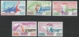 "Tchad Aerien YT 200 à 204 "" Anniv. Traversée Atlantique Nord "" 1977 Neuf** - Tchad (1960-...)"