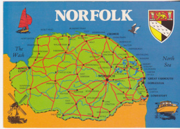 Postcard - Map - Norfolk - Posted 10-09-1972 - Card No. 2DS 116 - VG - Cartoline