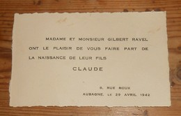Faire-part De Naissance. 1942. - Naissance & Baptême