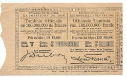 Tombola Tentoonstelling / Exposition 1930 - Billets De Loterie