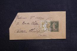 FRANCE - Bande Journal Type Semeuse + Complément De Paris Pour Château Thierry En 1935 - L 29150 - Biglietto Postale