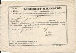 BON LOGEMENT MILITAIRE . 1859 .MALIJAI . 04 - Documents Historiques