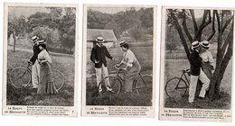 6 Cartes * LA LECON DE BICYCLETTE * COUPLE HOMME FEMME * CANOTIER * VELO * - Couples