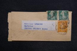 FRANCE - Bande Journal Type Semeuse + Compléments Pour Château Thierry En 1922 - L 29171 - Biglietto Postale