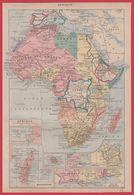 Carte De L'Afrique, Recto. Illustration Des Peuples Et Animaux D'Afrique Par Adolphe Millot, Verso. Larousse 1920 - Old Paper