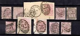 Grande-Bretagne YT N° 55 Et 56 Planches 1/3/4/6/10/11/12/13/14/16 Oblitérés. B/TB. A Saisir! - Oblitérés