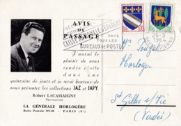 Blasons Troyes Et Guéret Sur Avis De Passage Horlogerie Jaz - Storia Postale