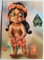 Carte Postale à Système Jeune Vahiné Polynèsie Française Yeux à Bille Illustrateur Piero - A Systèmes