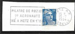 """FRANCE  1954  Timbre N° 886 + Flamme  """" Pilatre De Rozier 1er Aéronaute Né à Metz En 1754 """" Sur Fragment    Oblitéré - France"""