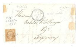 FACADE DE LETTRE... N°21 BISTRE BRUN  CACHET PERLE LE PERTHUS....G.C 2824...1864   SCAN - Storia Postale