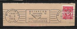 """FRANCE  1954  Timbre F M N° 12 + Flamme  """" BESANCONsalon International De L'horlogerie """" Sur Fragment    Oblitéré - Franchise Militaire (timbres)"""