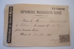 MEAUX - IMPRIMERIE  Marguerith-Dupré -  35,Rue Du Tan  -  Reçu  (année 1885 ) - Stamperia & Cartoleria