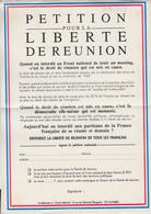 RT33.119 PETITION POUR LA LIBERTE DE REUNION .ON INTERDIT AU FRONT NATIONAL DE JEAN-MARIE LE PEN - Affiches