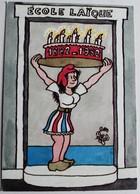 CPM Illustrateur Jean Effel 1982 Centenaire De L'école Laïque Marianne - Effel