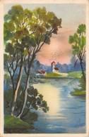 Cartolina Illustrata Paese Fiume Alberi Spedita Da Roma A Monza Anni '30 - Cartoline