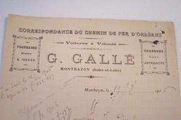 MONTBAZON  -- CORRESPONDANCE DU CHEMIN DE FER D'ORLEANS  -(année 1906  ) - France