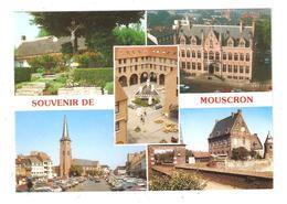 CPSM Belgique Souvenir De MOUSCRON MOESKROEN Calvaire, Hôtel De Ville, Place Et Eglise St Barthélemy, Château , Fontaine - Mouscron - Moeskroen