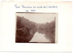 PONT ROUVREUX EN AVAL DE L' AMBLEVE. ETE 1938. PHOTO COLLEE SUR PAPIER - België