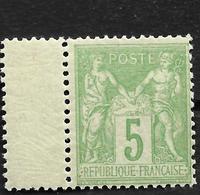 TRES BON  SAGE N 106  NEUF**  Type II Vert Jaune Gomme D'origine, Bord De Feuille Centrage  Bon - 1876-1898 Sage (Type II)