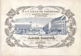 "GAND-GENT""A LA VILLE DE TERMONE-ESTAMINET,LOGEMENT,RESTAURANT-J.DE CALUWE""LITH.VANDER POORTEN-146/103MM - Cartes Porcelaine"