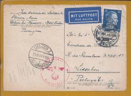 Postkarte Zensiert Von Uelzen, Hannover 1944 Nach Lissabon. 2. Weltkrieg. Postcard Censored From Uelzen. Hitler. - Duitsland