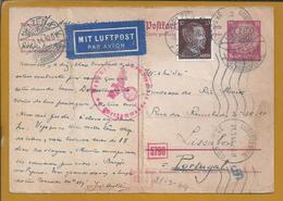 Ganzsachen Von Uelzen, Hannover 1944 Nach Lissabon Zensiert. 2. Weltkrieg. Postal Stationery Censored. 2nd World War. - Duitsland
