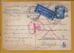 Postkarte Zensiert Von Uelzen, Hannover 1944 Nach Lissabon. 2. Weltkrieg. Postcard Censored From Uelzen. 2nd World War. - Duitsland