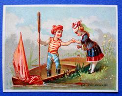 """CHROMO LITHO  SANS PUB   """"LA PROMENADE""""..ENFANTS ..BARQUE ...MARIN - Vieux Papiers"""