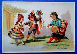 """CHROMO LITHO  SANS PUB   """"LA  DANSE """"...FÊTE.... BOUQUET DE FLEURS ....TAMBOURIN - Vieux Papiers"""