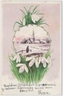 Prägekarte Mit Kirche, Schneeglöckchen, Gelaufen Zürich - Wipkingen - Cartes Postales