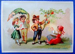 """CHROMO LITHO  SANS PUB   """"LA  BRANCHE CASSEE """"...OFFRIR UNE BRANCHE A UNE DEMOISELLE - Vieux Papiers"""