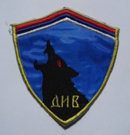 """1991-1995 Bosnian War - Serbian Paramilitary Force """"Wolves From The Drina River"""" - Sleeve Patch - Stoffabzeichen"""