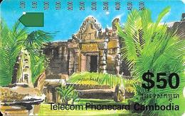 CARTE -MAGNETIQUE-$50-CAMBODIA-TEMPLE-TBE - Cambodge