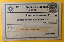 8622 - Parti Populaire National Bienne Remboursement Cotisation 1920 - BE Berne