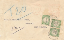 Curacao - 1936 - 3x 5 Cent Port / Postage Due Op Inkomende Brief Van Leeds / UK Naar Curacao - Curaçao, Antilles Neérlandaises, Aruba