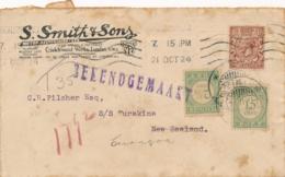 Curacao - 1924 - 2,5 & 15 Cent Port / Postage Due Op Inkomende Brief Van London / UK Naar Curacao - Curaçao, Antilles Neérlandaises, Aruba