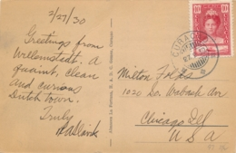 Curacao - 1930 - 10 Cent Wilhelmina Jubileum Op Ansicht Van Curacao Naar Chicago / USA - Calle Ancha, Otrabanda - Niederländische Antillen, Curaçao, Aruba